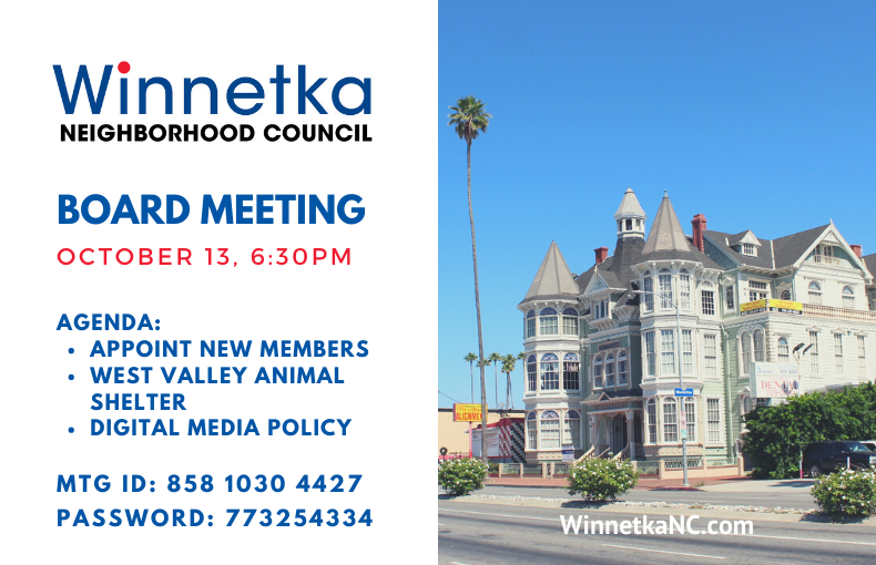 October 13, 2020 Meeting Announcement