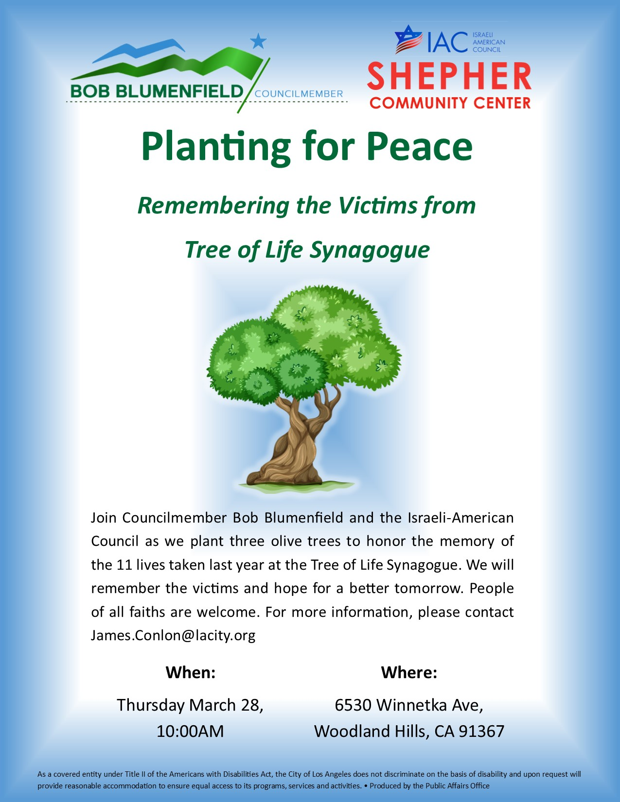 Tree of Life Synagogue Planting for Peace