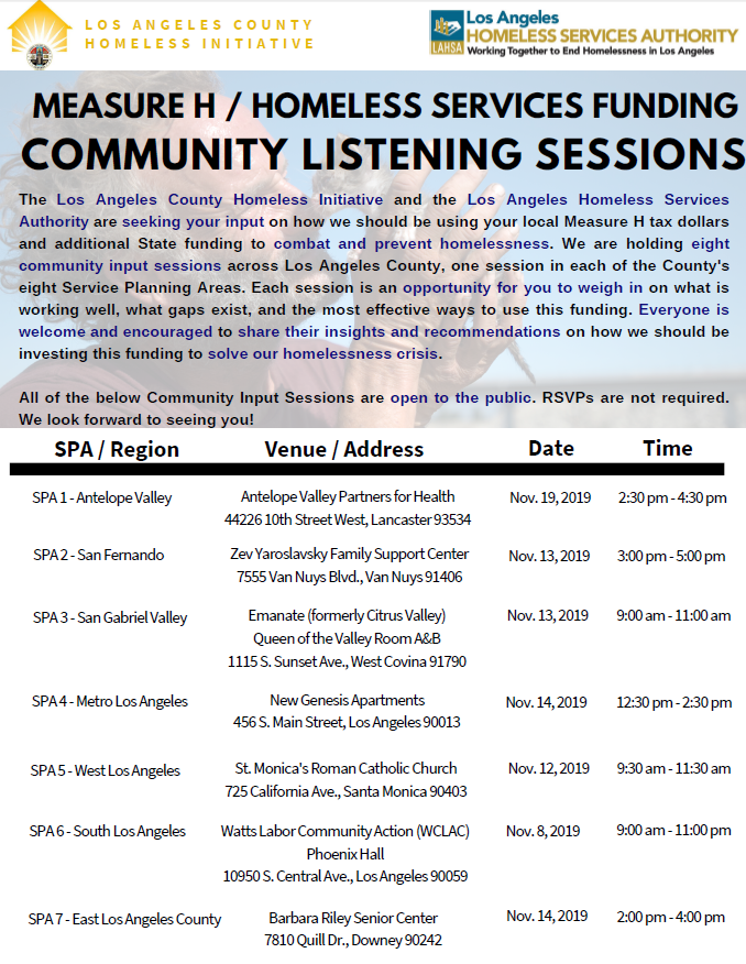 Homeless Services Listening Session