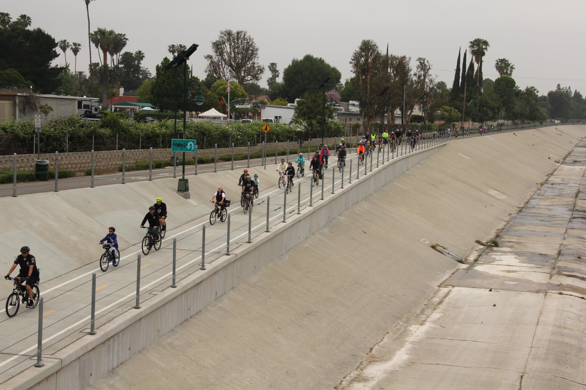 Bicyclists along the LA River